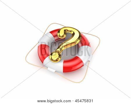 Lifebuoy and query mark.
