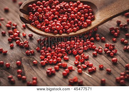 Pepper On Wood Spoon