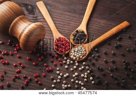 Pepper On Wooden Spoon