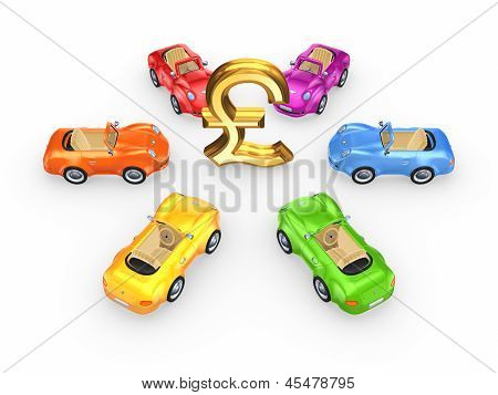 Colorful cars around sign of pound sterling.