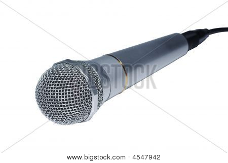 Silver Audio Microphone Close Up Isolated On White Background.