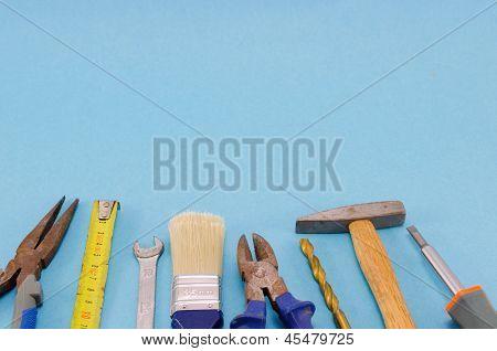 Hand Work Tools Set On Blue Background