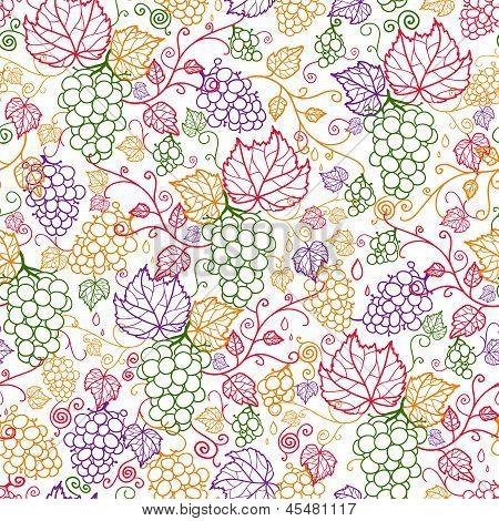 Line art grape vines seamless pattern background