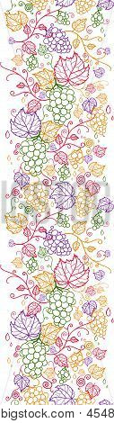 Line art grape vines vertical seamless pattern background
