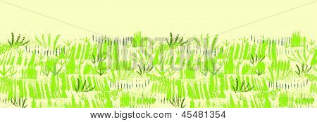 Painting of green grass horizontal seamless pattern background