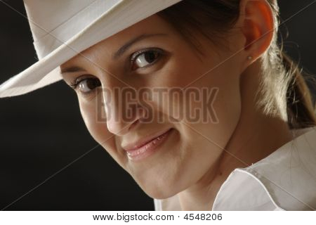 Ironical Girl In White Hat