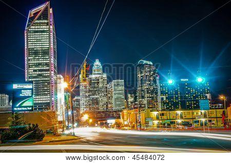 Charlotte City Skyline Night Scene