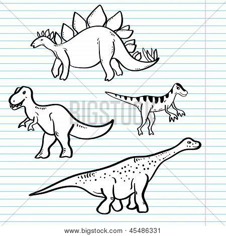 Black and white dinosaurs on a notebook sheet collection, vector
