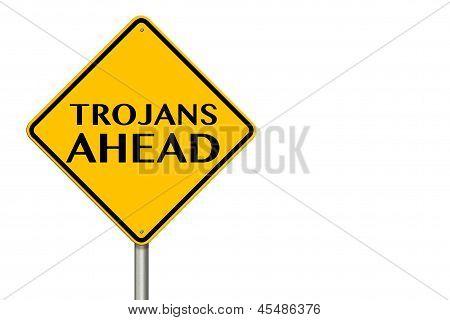 Trojans Ahead Traffic Sign