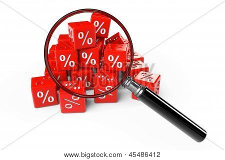 Red Percent Cubes With Magnifier