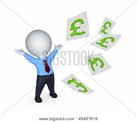 Happy small person with sign of pound sterling.