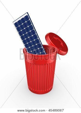 Solar Battery in recycle bin.