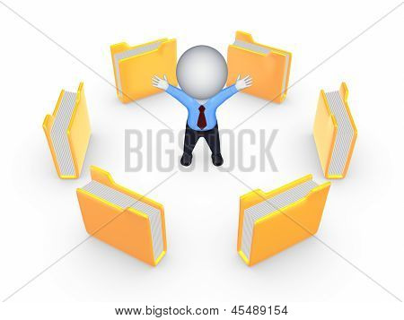 Yellow folders around happy 3d small person.