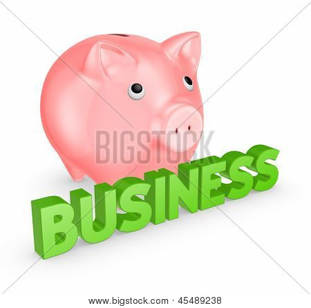 Pink piggy bank and word business.