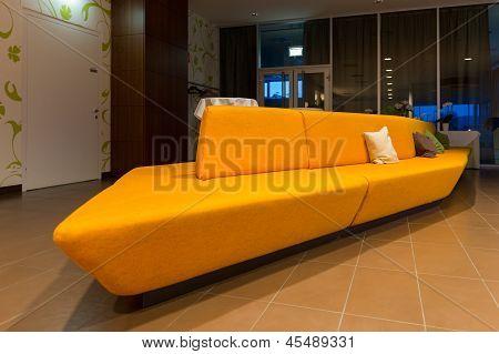 huge yellow orange couch