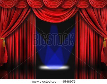 Red Theater Bühne mit blauen Spotlichter