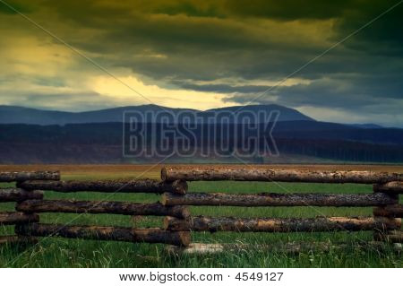 Country Fence And Summer Storms