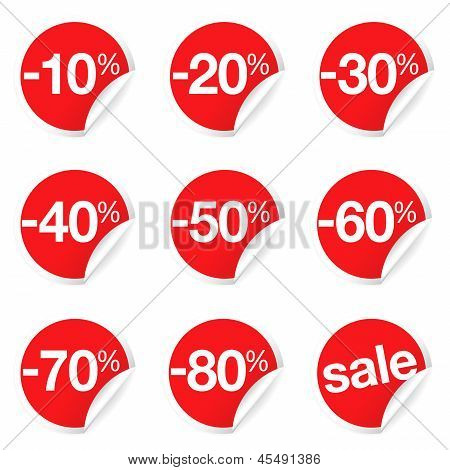 Red Sale Labels Discount And Promotion