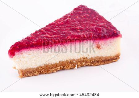 a slice of raspberry cheesecake