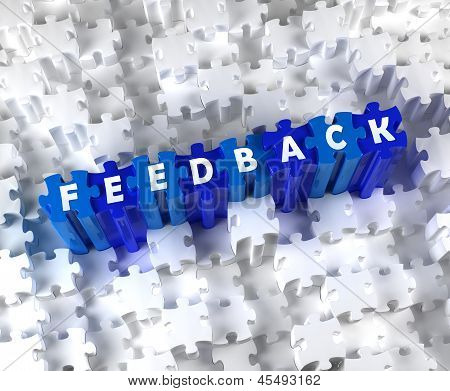 Creative 3D pieces of puzzle and word FEEDBACK