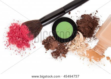 High Angle View Of Cosmetic Products