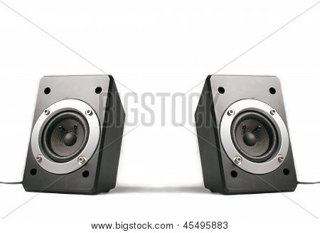 Two speakers isolated on white
