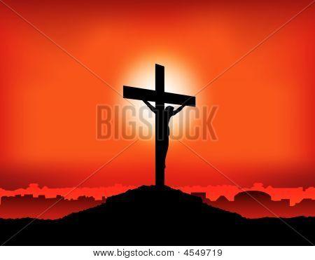 Jesús en la Cruz puesta del sol