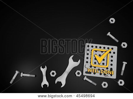 well done symbol on black technic background