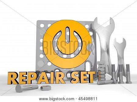3d graphic of a isolated on symbol repair set