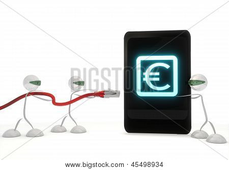 Euro symbol on a smart phone with three robots