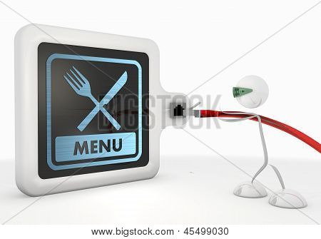 3d graphic of a simple menu symbol with futuristic 3d character