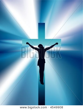 Jesus On Cross Light Shine Blue