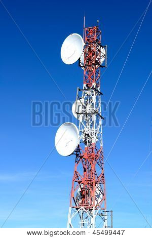 Antena tower on blue sky
