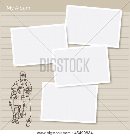 Man And Boy In Photo Album - Hand Drawn