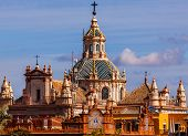 stock photo of 1700s  - Church of El Salvador Iglesia de El Salvador Dome with Cross Seville Andalusia Spain - JPG