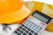 stock photo of pipefitter  - Instruments and calculator on a white background - JPG