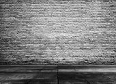 stock photo of abandoned house  - old grunge interior with brick wall - JPG