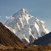 stock photo of karakoram  - K2 in the Karakorum Mountains Pakistan in early morning light - JPG