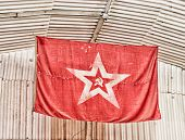 stock photo of hammer sickle  - a flag red star sickle and hammer  - JPG