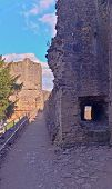 picture of chepstow  - A view of the ruins of the oldest surving post Roman stone fortification in Britain - JPG