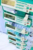 Syringe pumps in intensive care unit. Image with shallow DOF.