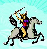 foto of valkyrie  - Illustration of valkyrie of Norse mythology female rider warriors riding horse with spear done in retro style - JPG