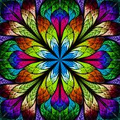 picture of kaleidoscope  - Multicolor beautiful fractal flower - JPG