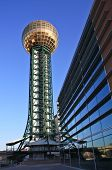 stock photo of knoxville tennessee  - Knoxville Sunsphere with a conference center in foreground - JPG
