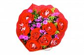 flowers : big bouquet of rose and pansy flowers with green grass in red wrapping paper isolated over