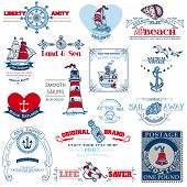 stock photo of brig  - Nautical Sea Calligraphic Elements  - JPG