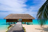 stock photo of kuramathi  - Spa salon on beach of tropical island healthcare background - JPG