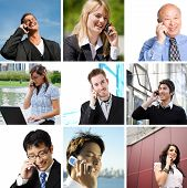 stock photo of people talking phone  - A collage of diverse business people talking on the phone - JPG