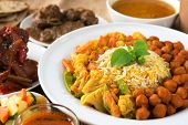 stock photo of nasi  - Indian food biryani rice and curry - JPG