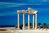 The ruins of a classical Greek temple in Side, Turkey